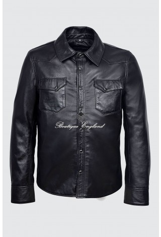 Men's 1822 Black Napa Adjustable Collar Casual Retro Soft Real Leather Shirt Jacket