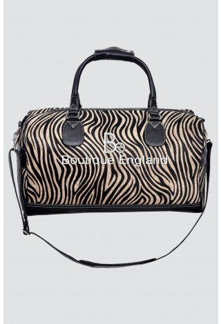 New Large Weekend Black Zebra Fur Print Premium Real Cowide Leather Holdall Bag
