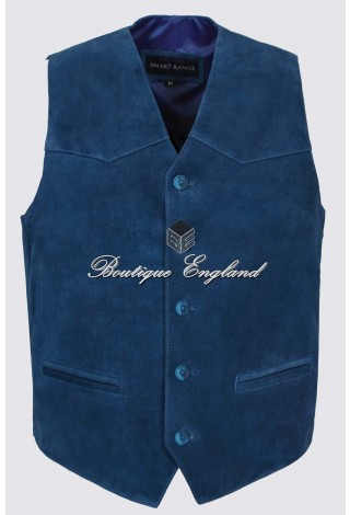 Men's Electric Blue Suede Leather Waist Coat Western Cow Boy Festival Party Vest