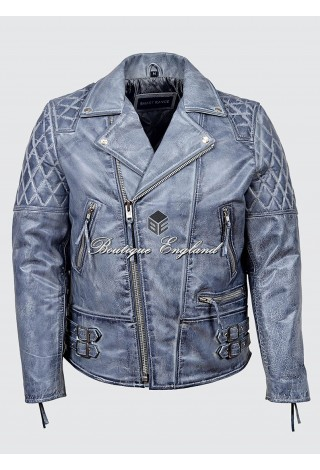 RECKLESS Men's Grey Biker Style Motorcycle Real Luxury Cowhide Leather Jacket 233