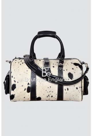 Luxury Medium Weekend Black COW Print Fur Real Cow Hide Leather Holdall Bag