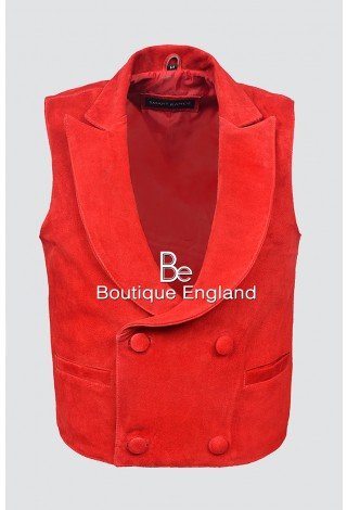 'EDWARDIAN' Men's 3281 Red Suede Steam Punk Victorian Real Leather Waistcoat VEST