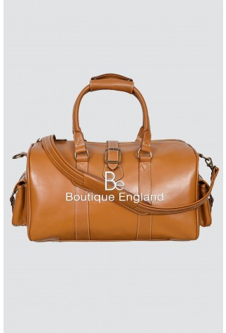 'DUFFLE' Medium Weekend Tan Holdall Travel Gym Real Genuine Leather Bag
