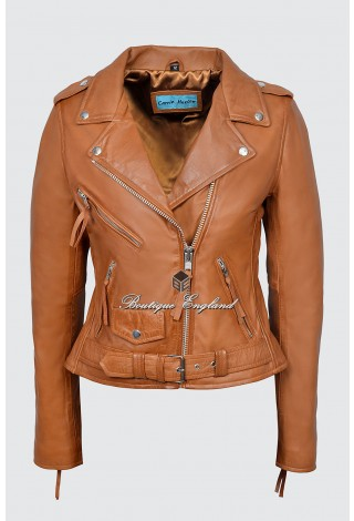 CLASSIC BRANDO Ladies  MBF Tan Napa Leather Biker Style Motorcycle Cruiser Jacket