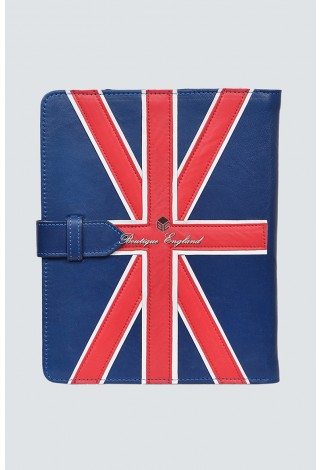 i-PAD Blue 2 3 & 4 Union Flag Lambskin Luxury Real Genuine Leather Cover Case Stand