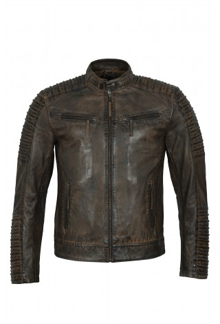 Best Men's Dirty Brown Vintage Distressed Quilted Piping Biker Style Real Leather Jacket 4430