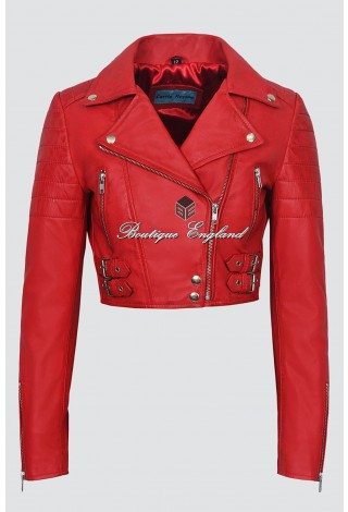 Missy Ladies 5625 Red Napa Short Cropped Fitted Biker Real Lamb Leather Designer Jacket