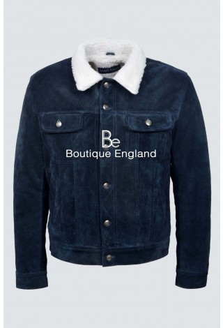 'TRUCKER' MEN'S Navy SUEDE WITH SHEARLING FUR CLASSIC REAL SOFT COW WESTERN LEATHER JACKET 1280