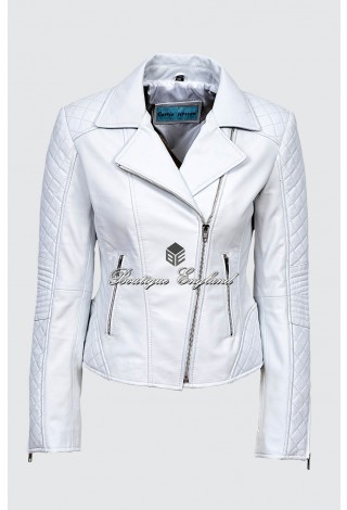 Ladies JESSIE White Napa Stylish Fashion Designer Quilted Soft Real Leather Jacket