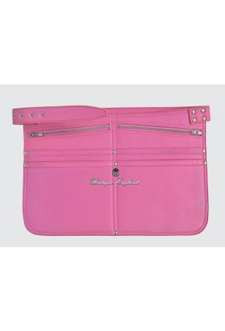 REAL LEATHER MARKET TRADERS CASH BAG PINK SHOULDER STRAP BELT ZIP