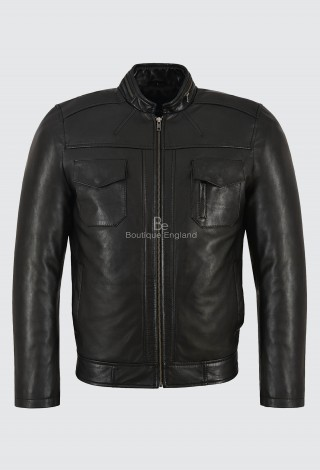 GUNNER Men's Black Leather Jacket Classic Fashion Biker Style Real Lambskin 7861