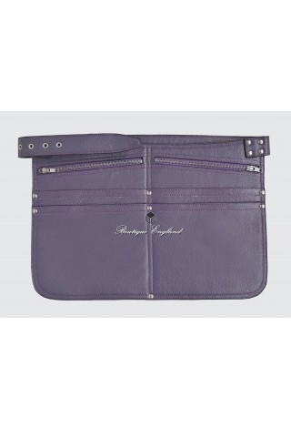 REAL LEATHER MARKET TRADERS CASH BAG PURPLE SHOULDER STRAP BELT ZIP