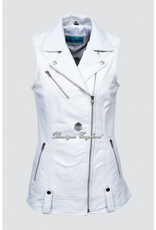 Ladies 6385 White Brando Waistcoat Punk Biker Style Motorcycle Leather Jacket