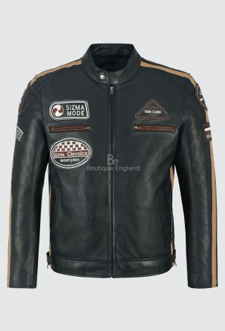 SIZMA Men's Real Leather Jacket Navy 100% Lambskin Biker Motorcycle Style 5011