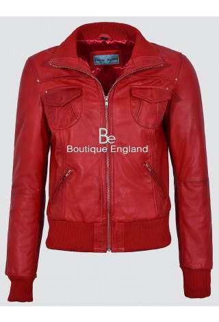 'FUSION' Ladies 3758 Red WASHED Short Bomber Biker Motorcycle Style Leather Jacket