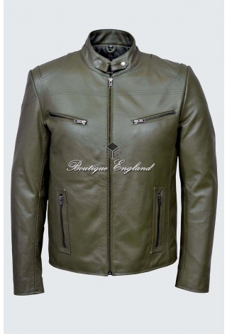 SPEED Men's SR-02 KHAKI Green Cool Retro Biker Style Motorcycle Cowhide Leather Jacket
