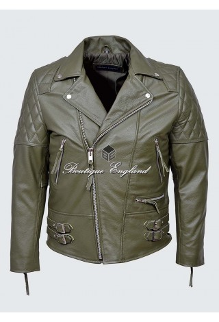 RECKLESS Men's Khaki Green Biker Style Motorcycle Real Cowhide Leather Jacket 233