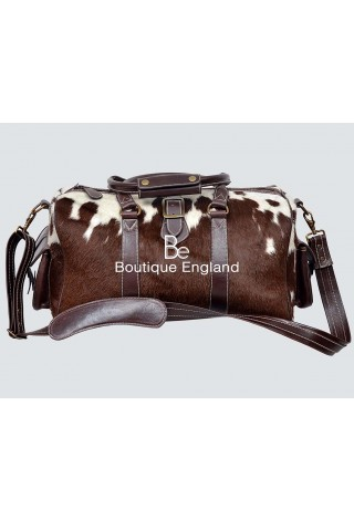 Medium Weekend Brown COW Print Fur Real Cow Fur Hide Leather Holdall Bag