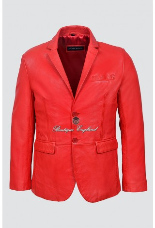 Men's 3450 Red stylish Millano 2 button CLASSIC BLAZER Soft Real Leather Jacket Coat