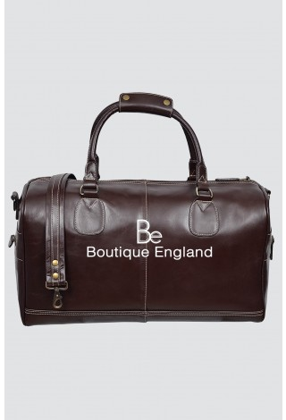 'HOLDALL' Large Weekend BROWN Duffle Travel Gym Real Genuine Leather Bag