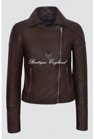 Ladies New Lilly Brown Napa Real Leather Collard Biker Fashion Trendy Jacket