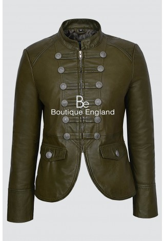 'VICTORY' Ladies Olive Green Military Parade Style Soft Real Nappa Leather Jacket 8976