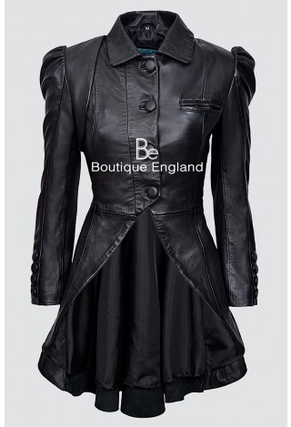 Edwardian Style Ladies 5003 Black Napa WASHED Real Leather Luxury Jacket Coat Gothic