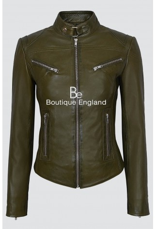 'SPEED' Ladies Olive Green Retro Biker Style Fitted Motorcycle Leather Jacket SR-01