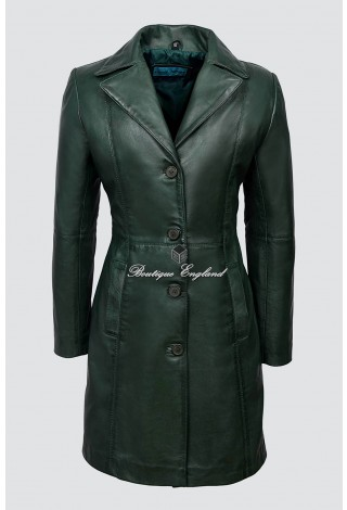 TRENCH Ladies Green Classic Knee-Length Designer Real Nappa Leather Jacket Coat 3457