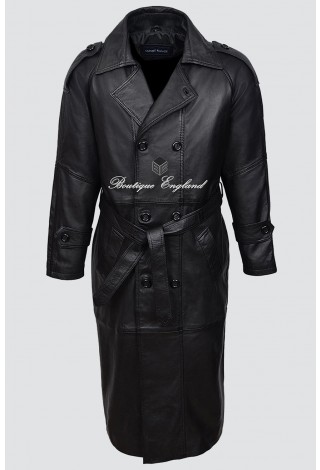 'DOUBLE BREASTED TRENCH' Men's 6965 Black FULL-LENGTH Real Lamb Leather Jacket Coat