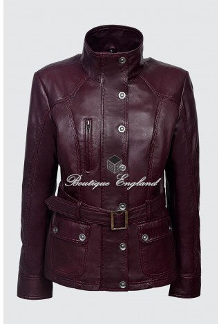 Ladies Cherry Napa Slim Fit Soft Leather Jacket Casual Military Collar Rock 1160