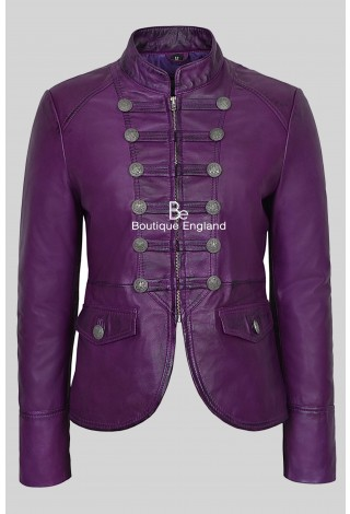 'VICTORY' Ladies Purple Military Parade Style Soft Real Nappa Leather Jacket 8976