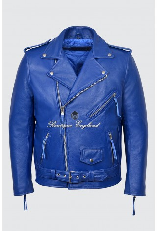 BRANDO SLIM FIT Men's MBF BLUE Cowhide Designer Real Leather Biker Jacket