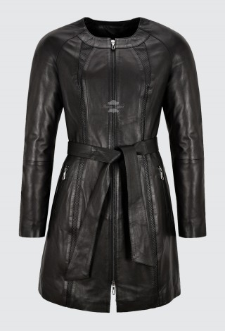 Woman's Elegant Collarless Coat Real Leather Knee Length Tie Belt Jacket B2-004