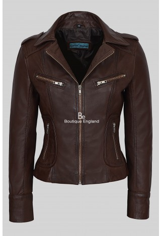 'RIDER' Ladies Brown Biker Motorcycle Style Soft Real Nappa Leather Jacket 9823