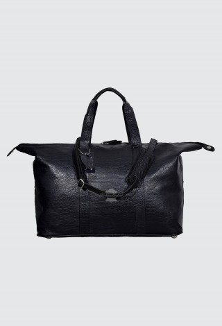 Men's Real Leather Holdall Travel Weekend Duffle Bag Sports Gym Handbag Black Croc
