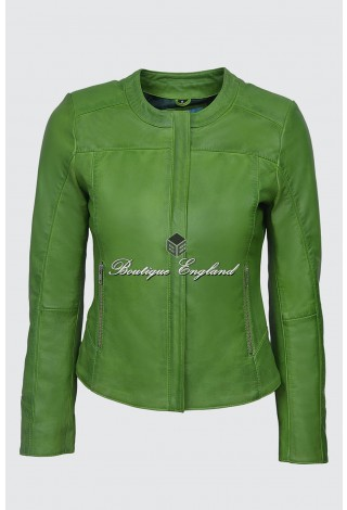 Ladies 5328 Lime Green Stylish Fashion Designer Quilted Soft Real Leather Jacket