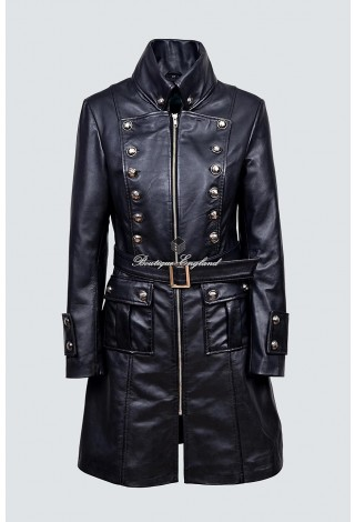 Ladies 4845 Black Real Soft Nappa Leather Jacket Coat Military Gothic