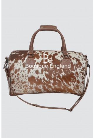 New Men's Large Weekend Tan COW Print Fur Real Cow Hide Leather Holdall Bag