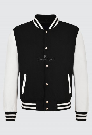Varsity Baseball College Jacket Black Fabric With White Leather Sleeve Style