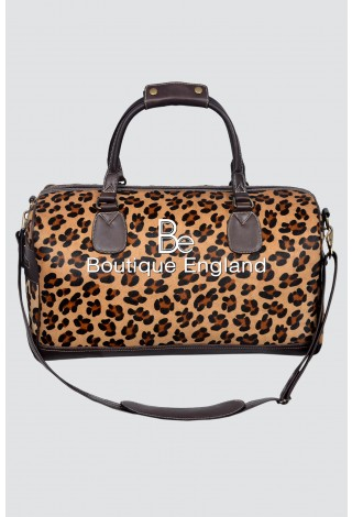 Large Weekend Leopard Fur Print Premium Real Leather Holdall Bag