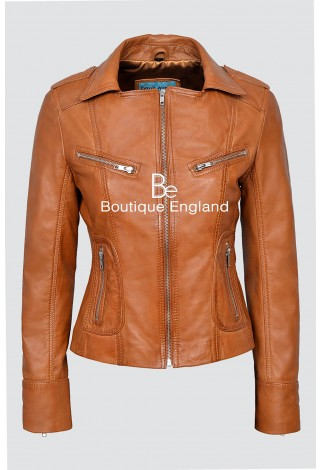 RIDER Ladies Tan WASHED Biker Motorcycle Style Soft Real Nappa Leather Jacket 9823