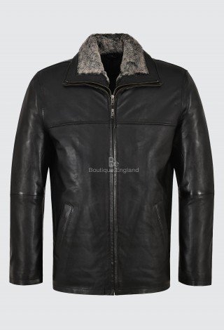 Men's Real Leather Jacket Black Napa Fur Collar Classic Hip Length Coat Jingo