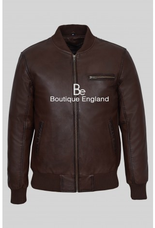 '70'S RETRO BOMBER' Men's 275-Z BROWN Cool Classic Soft Nappa LeatherJacket