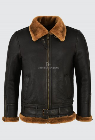 Men's B3 Brown Ginger Fur Shearling Sheepskin Leather Jacket Bomber RAF NV-47