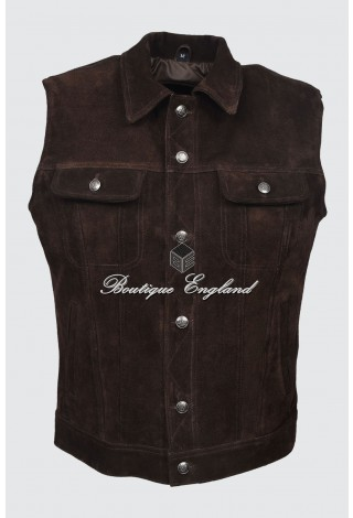 Men's Brown Suede Trucker Real Cow Leather Waistcoat Classic Western 1280