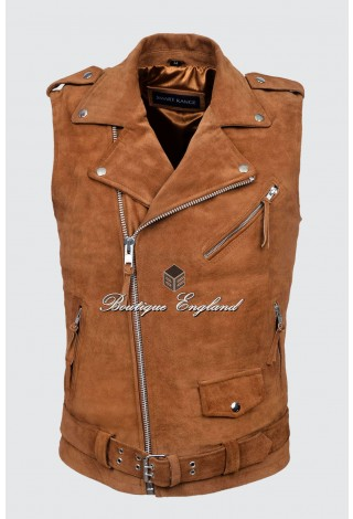 Men's Brando Tan Suede Motorcycle Biker Steam Punk Real Leather Waistcoat 1025