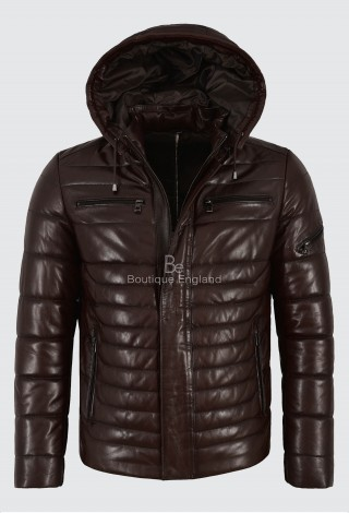Men's Puffer Hooded Lambskin Leather Jacket Brown Real Napa Fully Quilted 2006