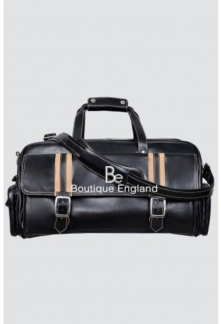 New WEEKEND 9225 BLACK Beige Stripe Large Holdall Duffle Travel Gym Real Leather Bag