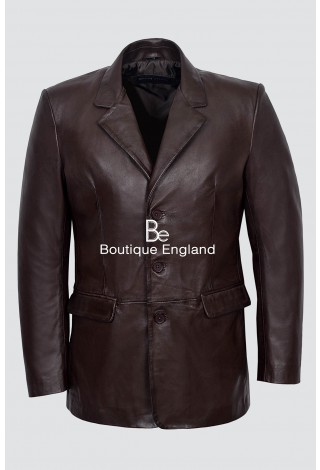 CLASSIC BLAZER' Men's Slim Jim BROWN Tailored Soft Real Nappa Leather Jacket Coat